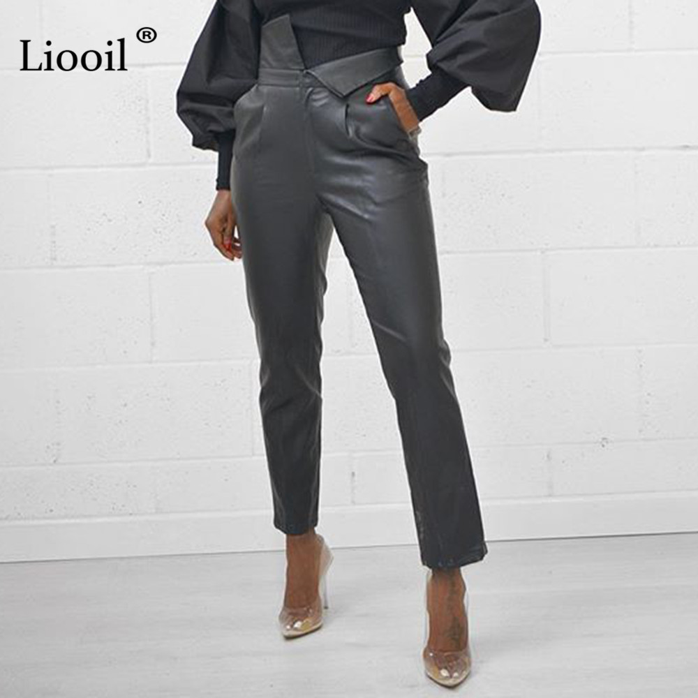 Liooil Faux Leather Sexy Long Pants Women Black Slacks 2019 Autumn Winter Streetwear Trousers High Waist Club Pants With Pockets