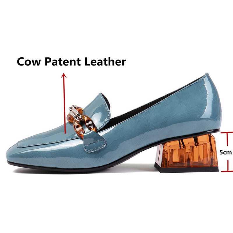 ORCHA LISA moda kadın pompaları bahar yaz zincir yüksek topuklu parti ayakkabıları hakiki deri kadın marka balo ayakkabı loafer'lar B1908