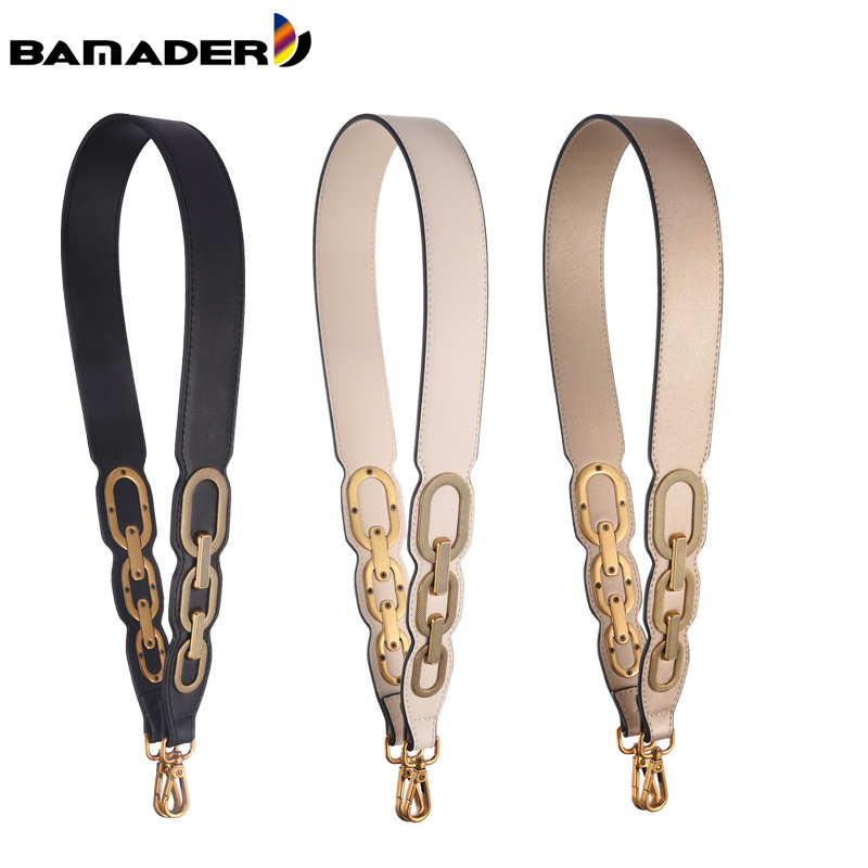 BAMADER Wide Shoulder Strap High Quality Genuine Leather Bag Strap Ladies Fashion Replacement Strap 90CM Bag Metal Accessories