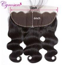 Cynosure-Extensión de cabello humano con cierre Frontal de malla Color Natural brasileño, 100% Frontal ondulado, 13x6