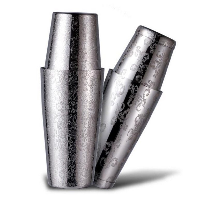 Engraving Skull European Style Stainless Steel Carved Boston Shaker  Etched Pattern Shakers|bar accessories - title=