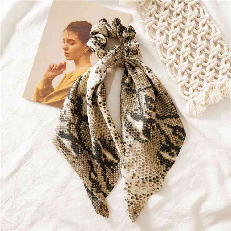 H4827e7a2e80a4d2a9a5458ceb0e6641eh - Vintage scarf, bowknot Women Hair Ponytail Holder, Rubber Serpentine Summer headbands Elastic Hair ties for Girls