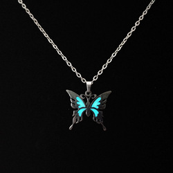 Luminous Glowing In The Dark Butterfly Pendant Necklace Stainless Steel Chain Women Yoga Prayer Buddhism Jewelry Gift Wholesale