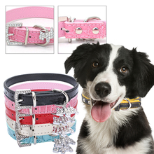 Dog-Collar Pets-Accessories Dogs-Leash Pet-Supplies Rhinestone for Small Adjustable