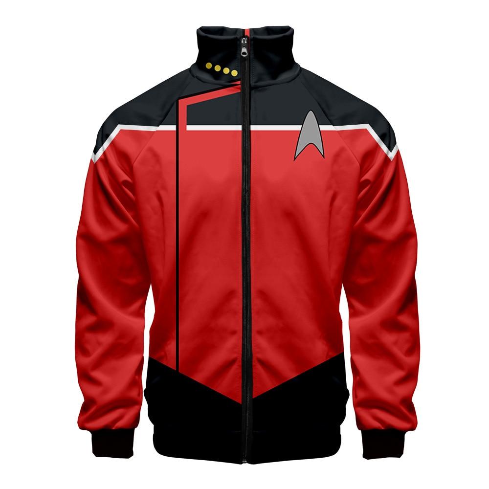 2020 Harajuku Star Trek stampa 3D Stand colletto felpa con cappuccio uomo donna giacche con cerniera manica lunga felpe Casual giacche