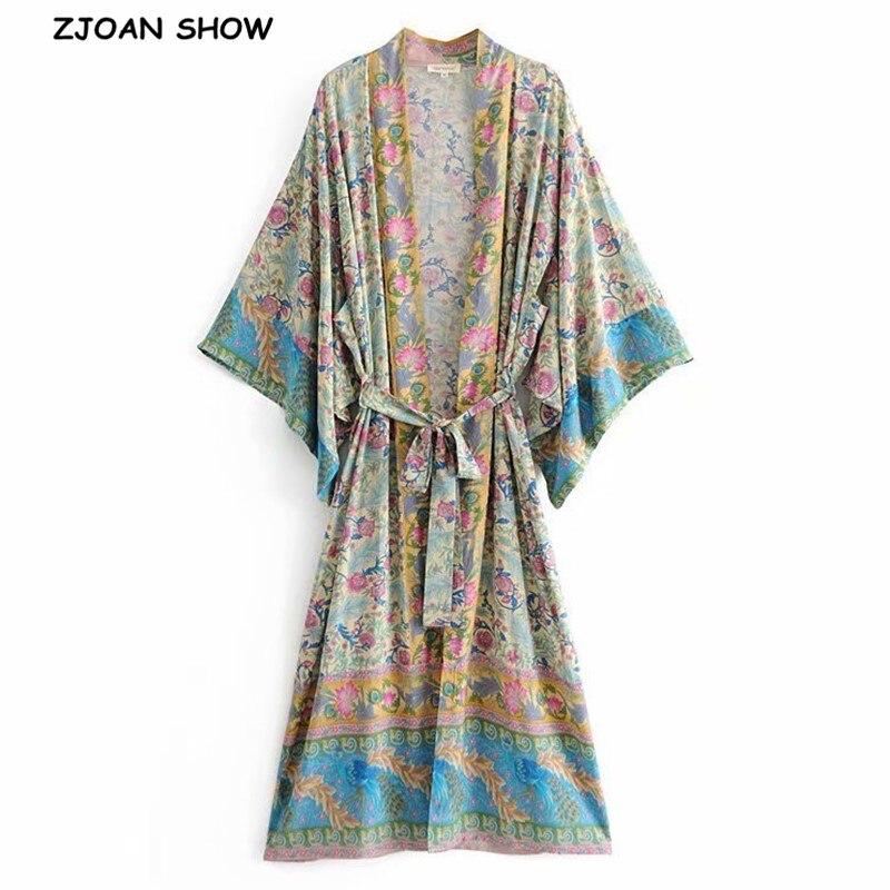 Autumn Bohemia Pteris Flower Print Long Kimono Shirt Ethnic Lacing Up Tie Bow Sashes Long Holiday Cardigan Loose Blouse Tops