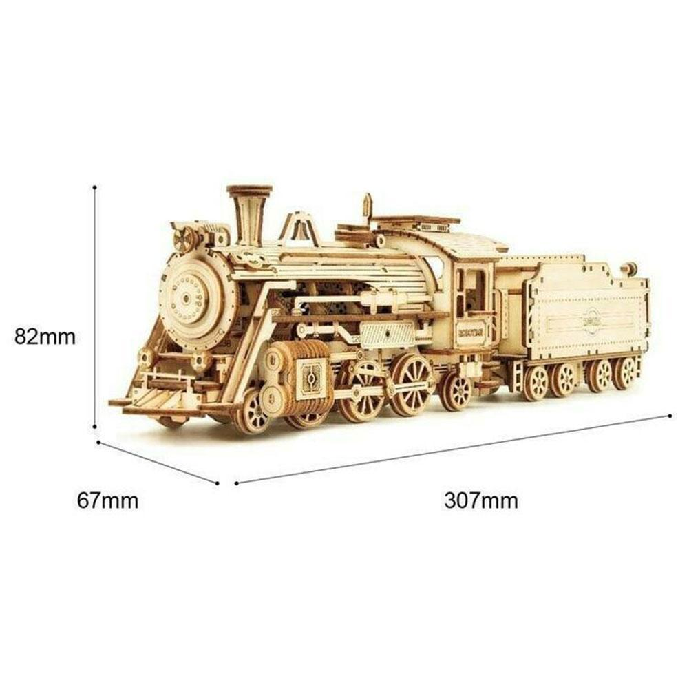 Locomotive Machinery Gear Wooden Model Kit Train Classic Car Mechanical Model Puzzle Toy 3D Puzzle DIY Handmade Assembly Toy