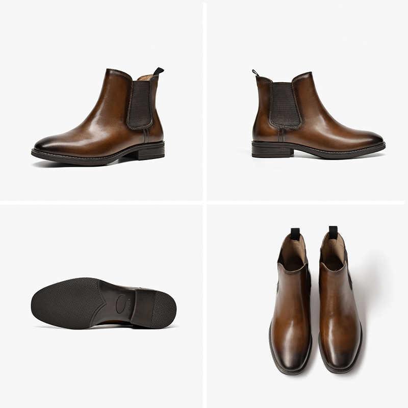 BeauToday klasik Chelsea çizmeler kadın hakiki inek deri ağda kare ayak sonbahar kış bayanlar bileğe kadar bot ayakkabı el yapımı 03628