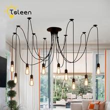 Araña grande moderna Industrial negro Vintage lámpara colgante desván led 12 cabezas E27 luces colgantes para sala de estar restaurantes Cocina