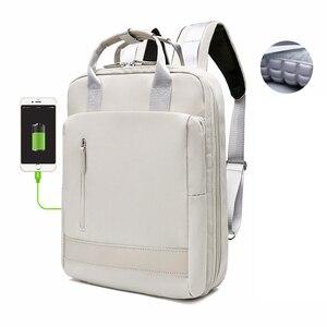 Водонепроницаемый стильный рюкзак для ноутбука для женщин 13,3 14 15,6 дюймов Корейская мода Оксфорд холст USB рюкзак для колледжа сумка женская ...