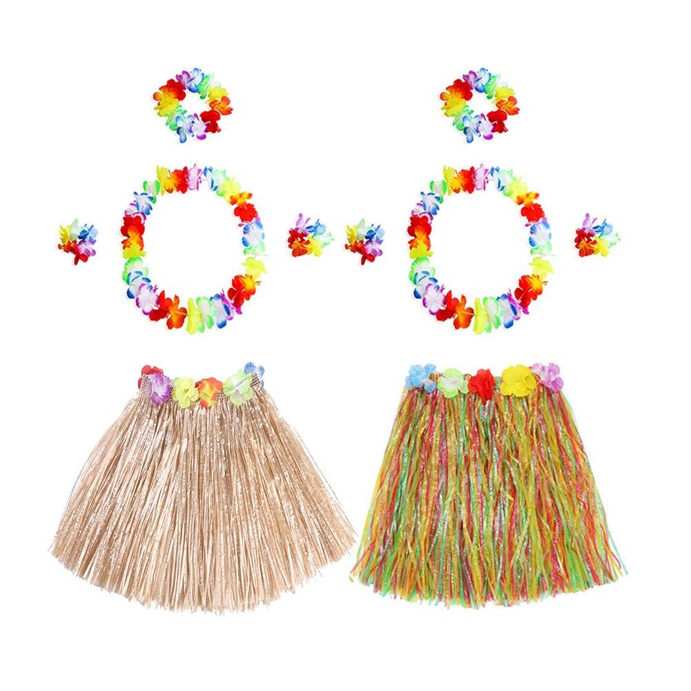 5PCS/Set Hawaiian Dress Skirt Garland Necklace Artificial Flowers DIY Fancy Dress Accessories Hawaii Beach Summer Party Decor