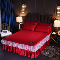 Unique Double lace design print bed cover With Fixing strap and pillowcase bedspread for bed for Home/hotel Decoration 10 color