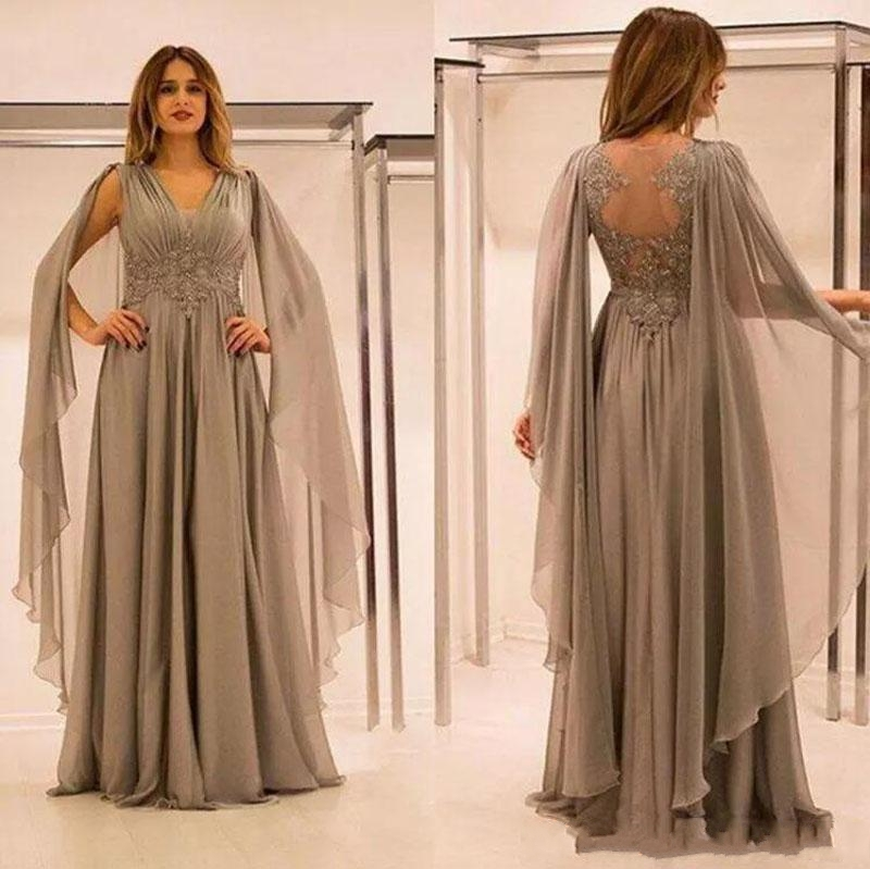 2020 Elegant Chiffon Illusion Back Mother Of The Bride Dresses With Lace Applique Beads V Neck Cap Sleeves Mother Groom Dress