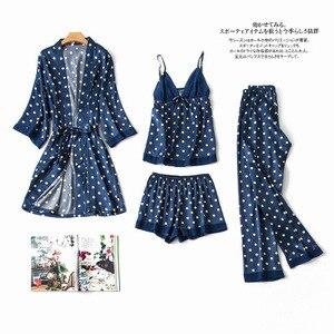 Image 5 - Daeyard 여성 잠옷 패션 폴카 도트 실크 Pijamas 4Pcs 가운 잠옷 섹시한 캐미 반바지 잠옷 세트 가을 Nighty Home Wear