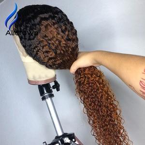 Image 3 - ALICROWN Ombre מתולתל תחרה מול שיער טבעי פאות עם תינוק שיער 13*4 התיכון מנת שאינו רמי שיער תחרה פאות מראש קטף פאות