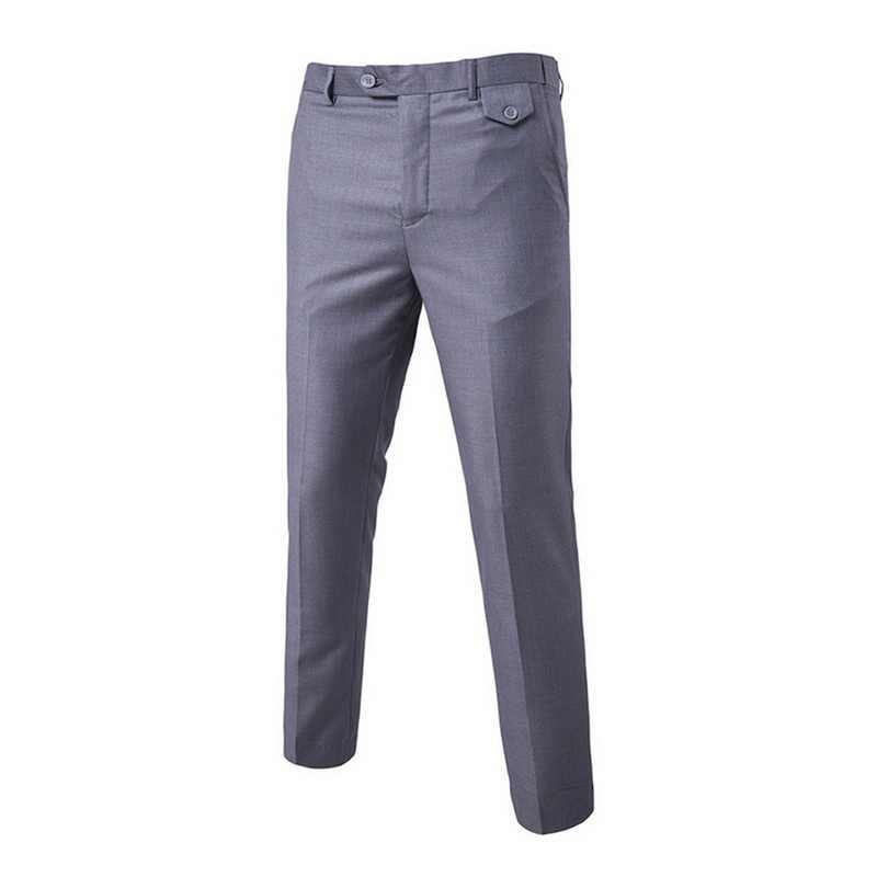 Vestido De Luxo formais Calças Dos Homens Plano Magro Homem de Negócios Calças Terno Verão Fina Calças Escritório Sólida Casuais Pantalon Homme Traje