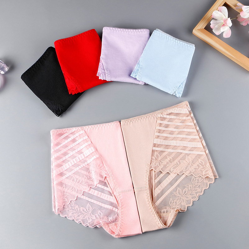 Mid Waist Women Underpants Cotton Breathable Lingerie Sexy Lace Hollow Seamless Breifs Female Panties High Elasticity Underwear