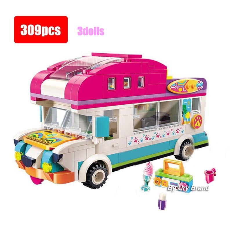 Cherry Beach Doggy Camping Car Wagon Qman Friends Set Educational Model Building Blocks Toys Children Girls Education Gift