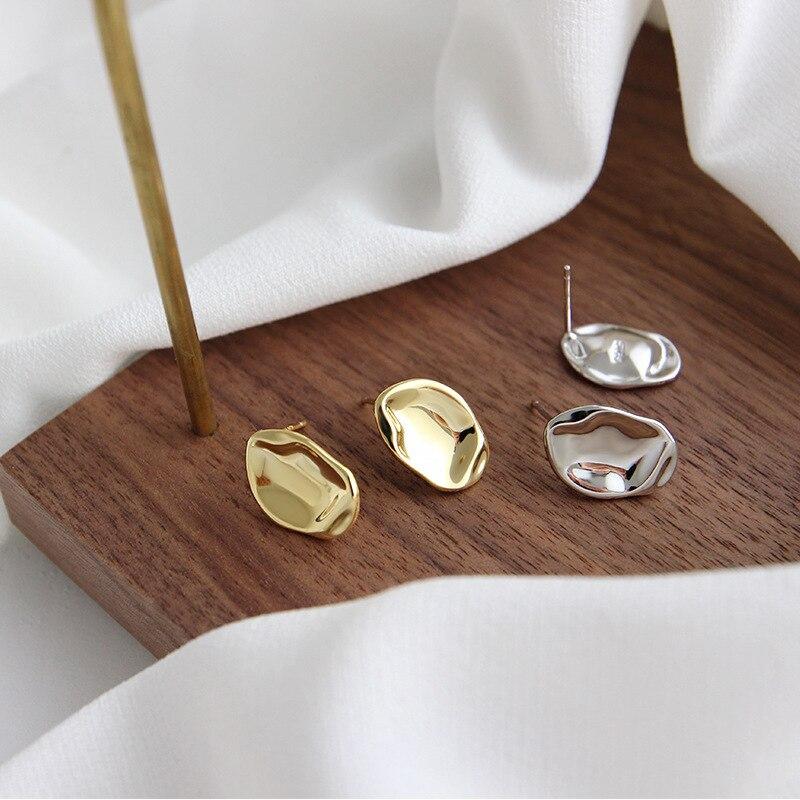 S'STEEL Irregular Earring 925 Sterling Silver Stud Earrings For Women Gold Minimalist Aretes De Mujer Kolczyki Damskie Jewelry