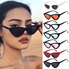 Sexy olho de gato retro óculos de sol triângulo pequeno feminino shades senhoras trending streetwear eyewear uv400