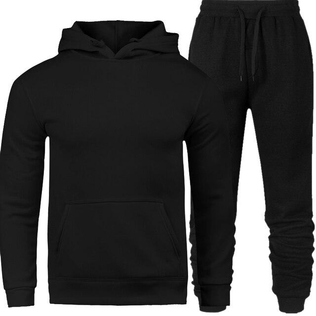 Hommes survêtement vêtements d'extérieur à capuche ensemble 2 pièces automne sport survêtement mâle Fitness col montant sweats veste + pantalons ensembles
