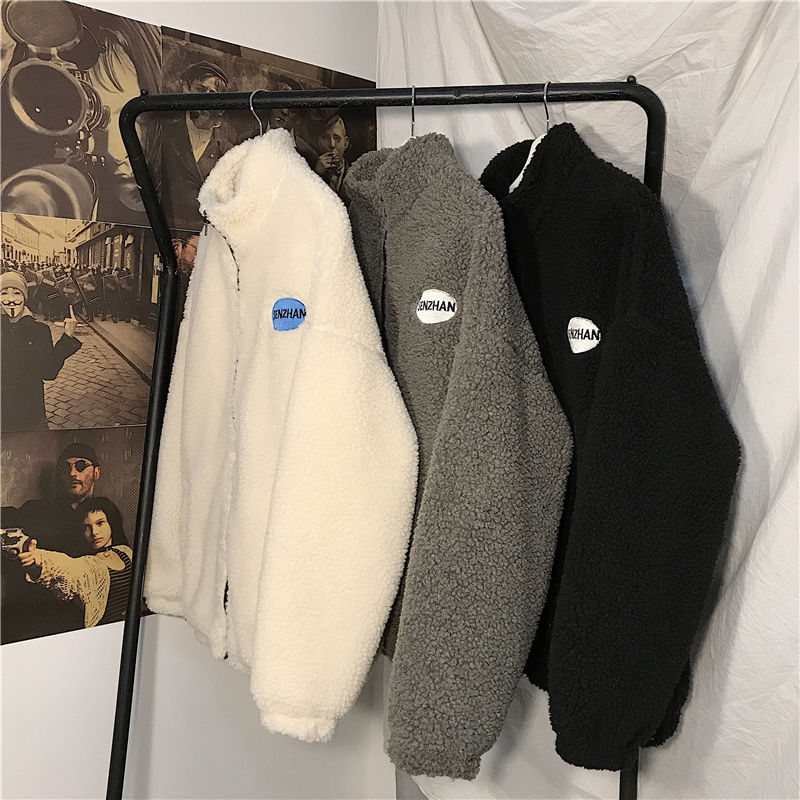 2020 Faux lamb wool coat winter clothes women zipper sweatshirt all-match thinner stand collar cardigan harajuku hoodie women 3