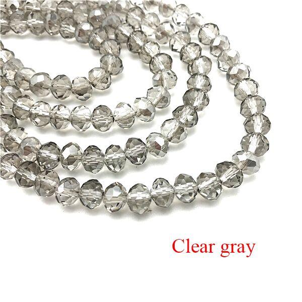2X3/3X4/4X6/6X8 мм хрустальные бусины AB разноцветные стеклянные бусины Sapcer для ювелирных изделий ручное кольцо Ожерелье Изготовление DIY - Цвет: Clear gray