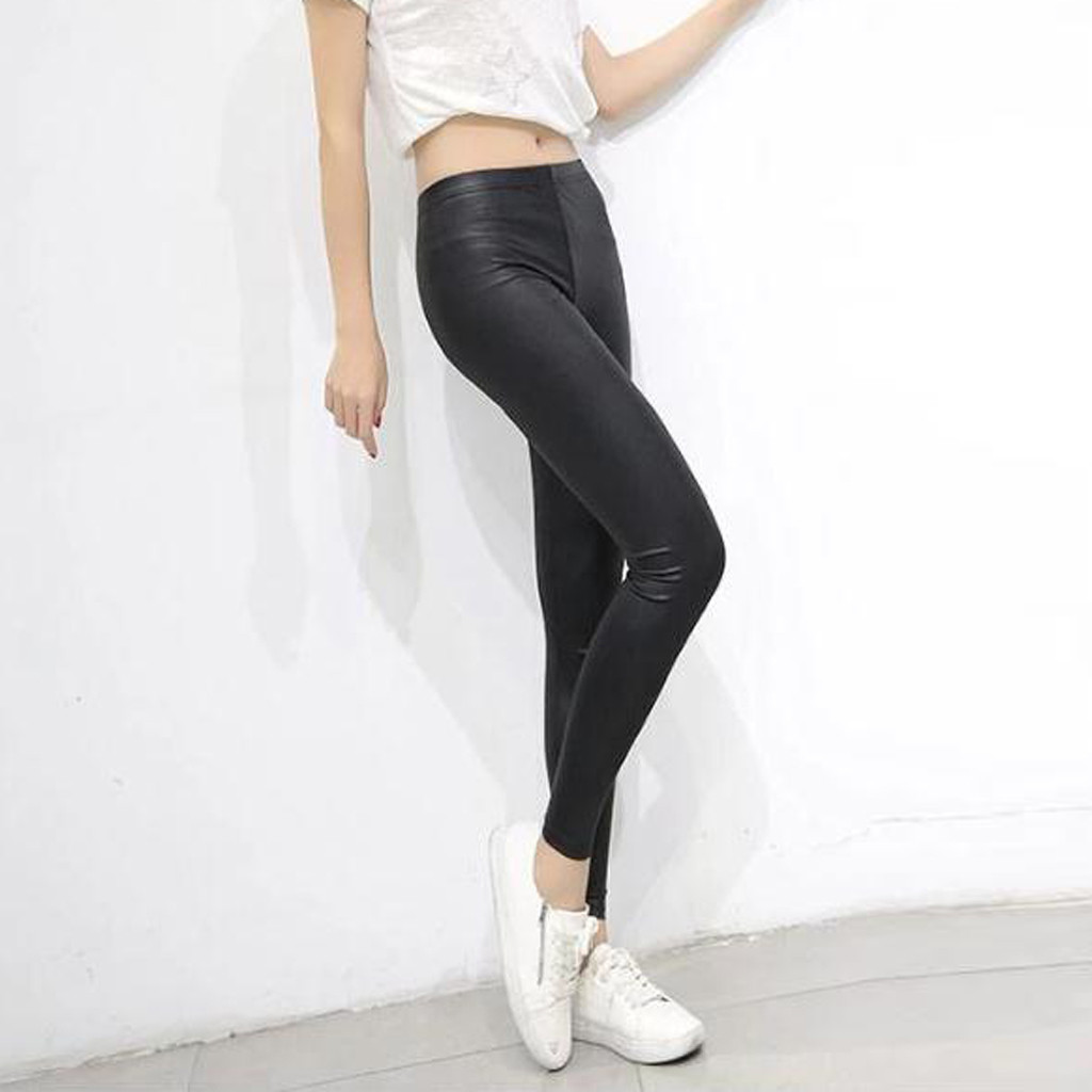 Autumn Leggings Women Faux Leather Sexy Skinny Legging Streetwear Fashion Leggins Mujer Black Solid Plus Size D91106