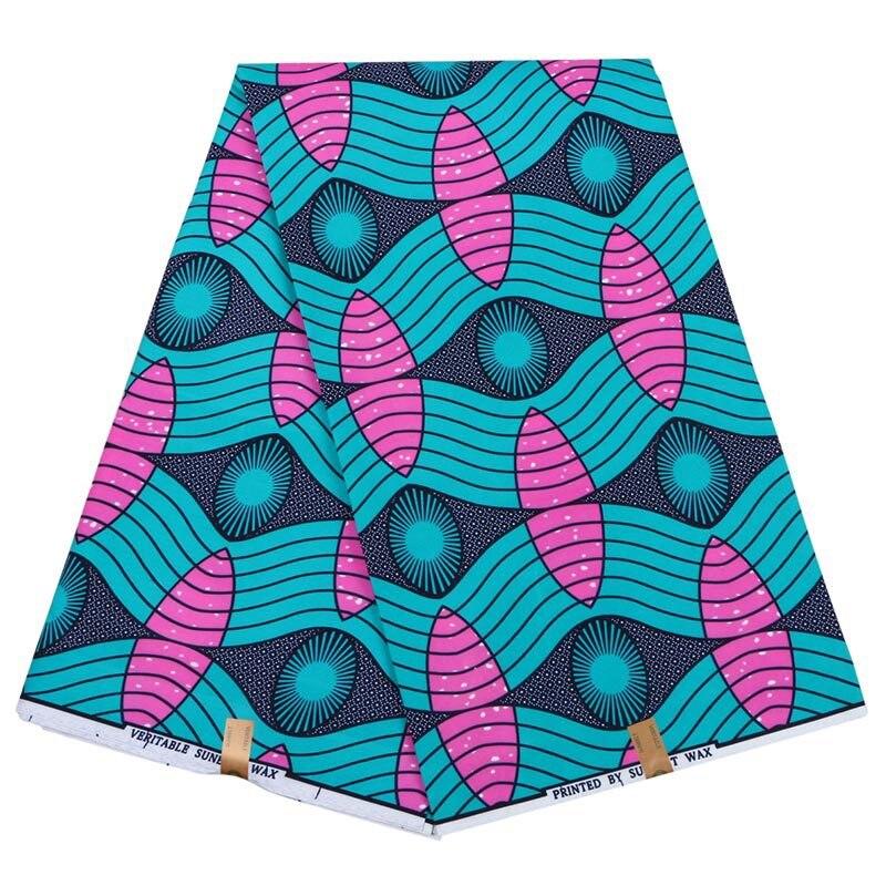 Ankara Gothic Design Wax Green And Pink Circle Printed DIY Sewing Fabric