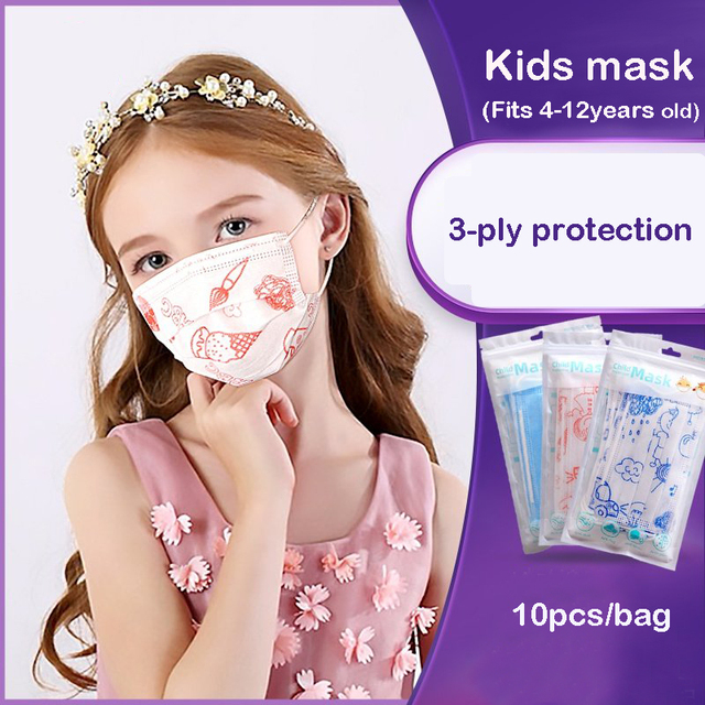 10/50 Pcs Childern Kids Disposable Mouth Face Mask Cartoon Dustproof Non-Woven 3-ply Protective Flu Mask Anti-fog Dust Kawaii