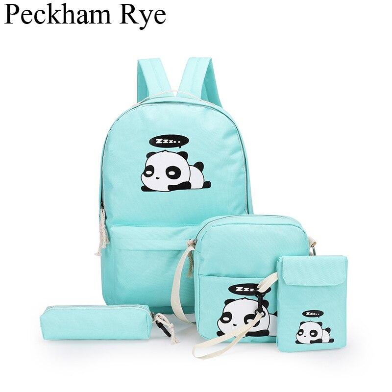 Cartoon Panda School Bags For Teenage Girls Backpack Kids Shoulder Bag And Purses Cute Backpack Children 4pcs Mochila Escolar