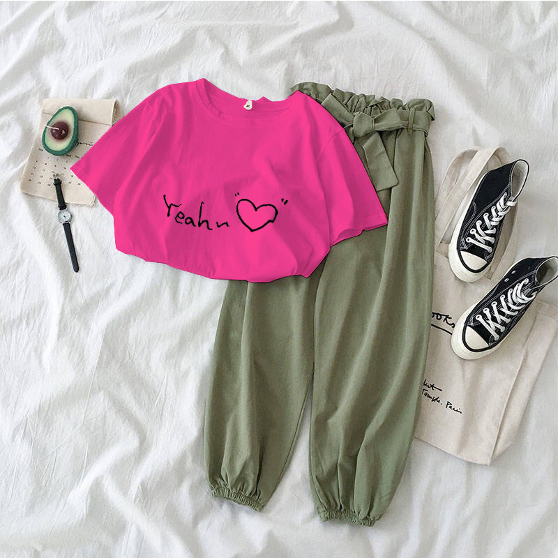2020 Two Piece Set Women Summer Short Sleeve Casual Letter Printed T Shirt Tops + Bow Belt Pants 2PCS Outfits Woman Tracksuits