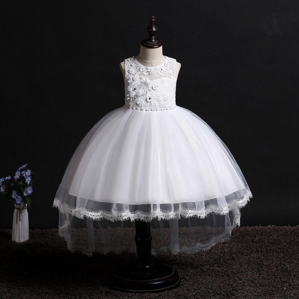 Hot Selling CHILDREN'S Dress Girls Wedding Dress Sleeveless Tutu Tailing Performance Wear