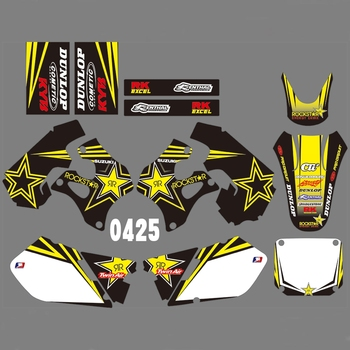 For SUZUKI RM125 RM250 1996 1997 1998 Graphics Decals Stickers Custom Number Name 3M Full  Motorcycle Backgrounds Accessories
