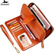 women's wallet carteira feminina oil wax skin women clutch zipper sac femme money bag Compartment mujer female portfel damski