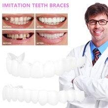 Branco parte inferior superior do silicone dentes falsos superior inferior inferior superior folheados inferiores dentes falsos cosméticos dentadura superior/inferior pressão no sorriso
