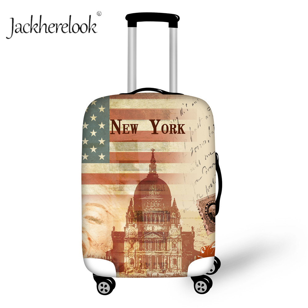 Jackherelook New York Castle Print Luggage Bag Cover Thicken Travel Dust Proof Cover For 18-32 Inch Suitcase Baggage Retro Cases