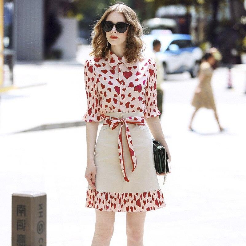 Ozhouzhan 2019 Summer Wear WOMEN'S Dress New Style Peach Heart Print Shirt + Joint Skirt Fashion Set Women's
