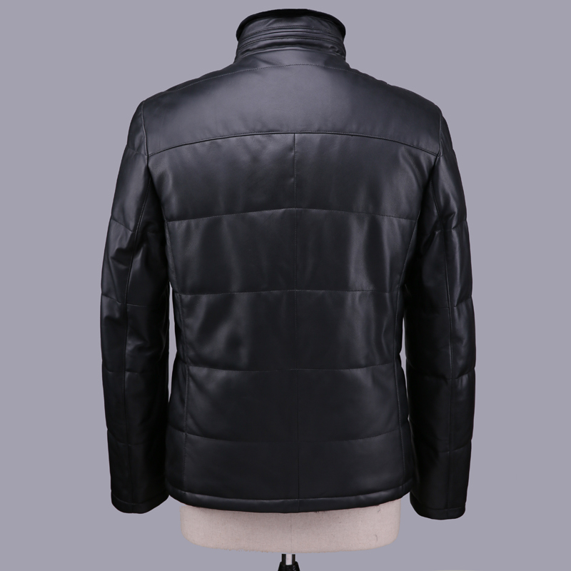Geniune Leather Jacket Men Sheepskin Leather Duck Down Coats With Natural Rex Rabbit Fur Liner Coat 12-H27# MF402