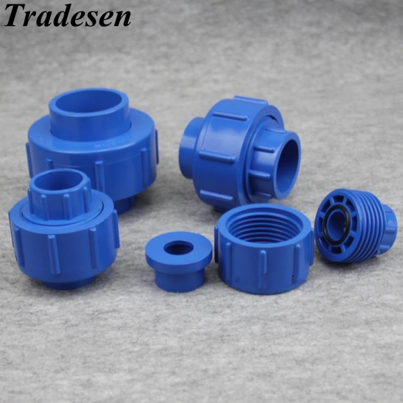 1pcs 20mm 25mm 32mm 40mm 50mm ID UPVC Union Pipe Fittings Coupler Water Connector For Garden Irrigation Hydroponic System