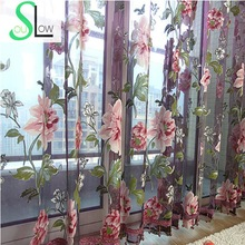 Slow Soul Purple Beige Peony Flower Curtains Sheer For Living Room Tulle Pastoral Floral Yellow Bedroom Window Curtain Kitchen