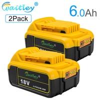 Waitley 2pack 18V 6.0Ah DCB200 Replacement Li ion Battery for DeWalt MAX XR power tool 18 v 6000mAh lithium Batteries DCB200 184