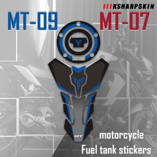 Cojín de tanque de combustible para motocicleta, pegatina para tapa de depósito de combustible, pegatina protectora para YAMAHA MT09 MT07, pegatina de imitación mt 09/07