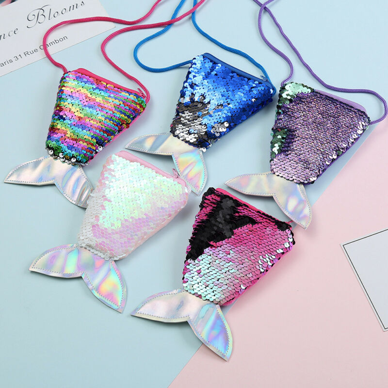 Girls Kids Children Mermaid Tail Crossbody Bags Coin Purse Wallet Card Zipper Holder Storage Blue Green Pink Purple Red