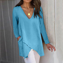 Summer Sexy Irregular Large Long Sleeves Blouses Solid Color Plus Size Ladies Tops Casual Pockets V Neck Sheath Shirts 5xl white round neck bell sleeves embroidered blouses