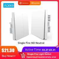 Aqara Smart-Wand Licht Schalter Einzelnen Feuer Linie Licht Fernbedienung Wireless Key Wand Schalter Ohne Neutral Mi Hause