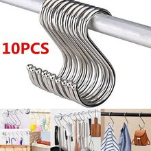 10pcs Stainless Steel Household Hooks Set For Hanging S Shape Hanger Practical Storage Holder S Type Hook For Kitchen Home clear s shape kitchen hanger clothes hooks clasp holder plastic hanging hooks