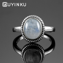 GUYINKU Vintage Natural Rainbow Moonstone Rings 925 Sterling Silver Gemstone Engagement Anniversary Ring For Women Fine Jewelry guyinku oval created mystic topaz rings rainbow colorful gemstone 925 sterling jewelry for women engagement rings gift