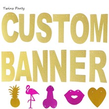 Twins Party 13.5cm DIY Personalized Gold Glitter Paper Letter Banner For Birthday Wedding Bachelorette Baby Shower Decor