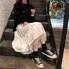 Long Tulle Midi Skirts Womens 2020 Autumn Elastic High Waist Mesh Tutu Pleated Skirts Female Black White Long Skirt Streetwear 3